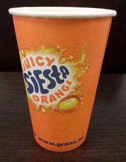 Ühekordne joogitops logoga Siesta Orange