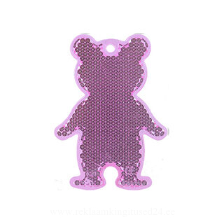 Reflector bear 51x70mm pink